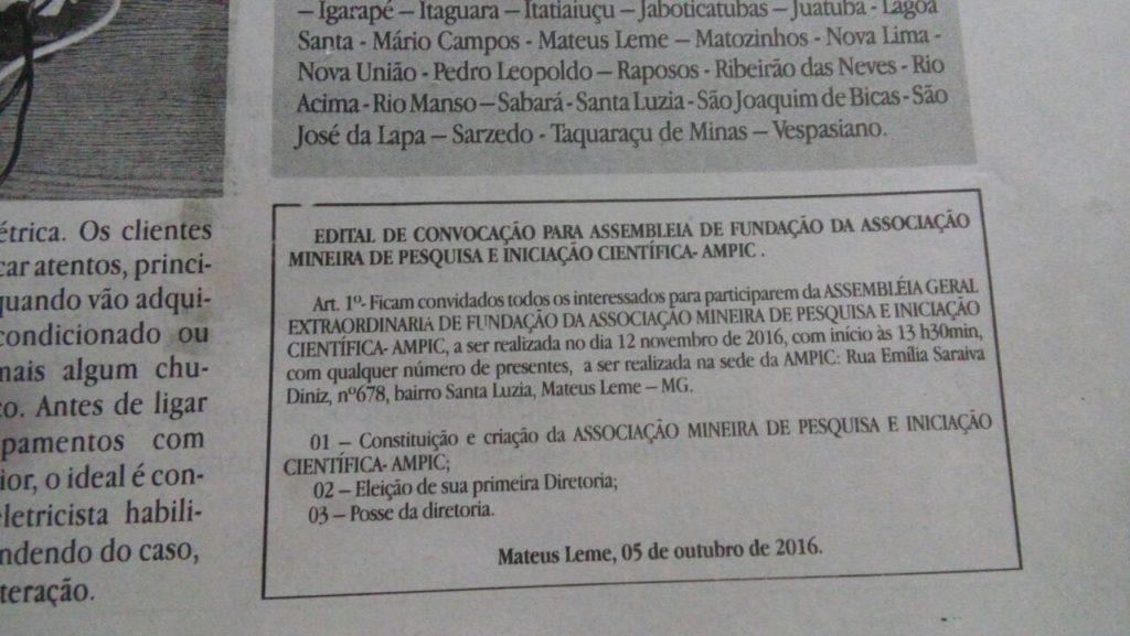 Foto mostrando edital de publicação em jornal impresso, sendo a publicação o edital de Convocação para assembleia de fundação da AMPIC.